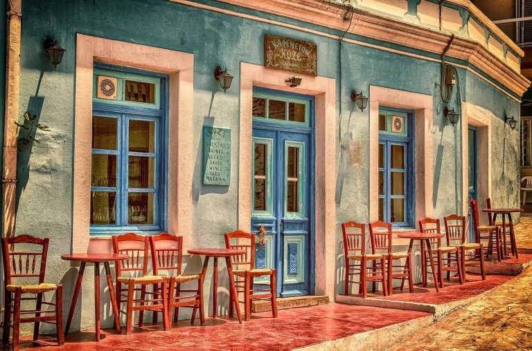colorful vintage looking cafe